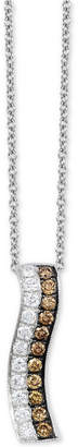 "LeVian Le Vian Chocolatier® Diamond Curved Stripe 18"" Pendant Necklace (3/8 ct. t.w.) in 14k White Gold"