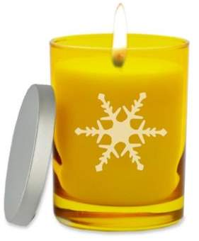 Carved Solutions Gem Collection Snowflake Soy Wax Jar Candle in Citrine