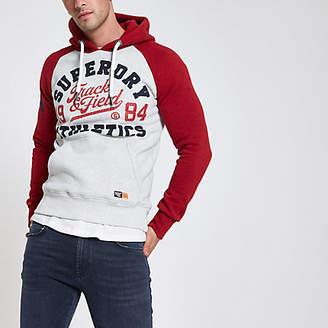 River Island Superdry red raglan vintage logo print hoodie