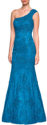 La Femme One-Shoulder Sleeveless Lace Mermaid Gown