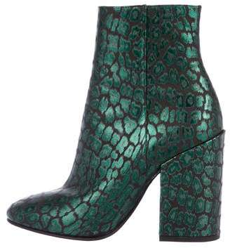 Dries Van Noten Embossed Leather Ankle Boots
