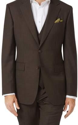 Charles Tyrwhitt Chocolate slim fit sharkskin travel suit jacket
