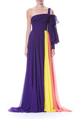 Carolina Herrera One-Sleeve Colorblocked Draped Chiffon Evening Gown