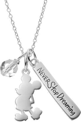 Disney Disney's Mickey Mouse Sterling Silver Charm Pendant Necklace - Made with Swarovski Crystals