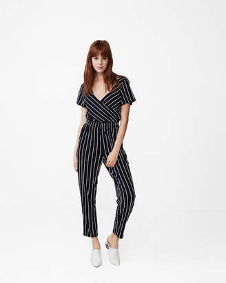 Express Petite Striped Surplice Jumpsuit