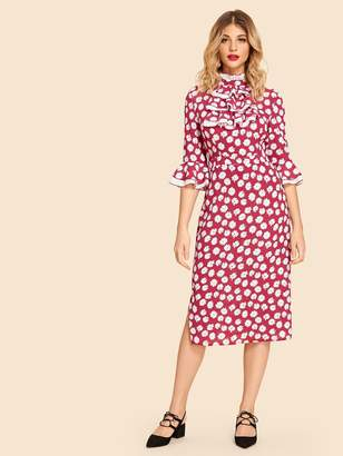 Shein Ruffle Trim Floral Print Dress