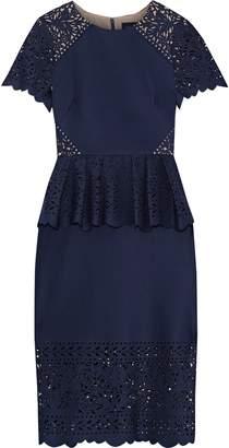 Marchesa Laser-cut Neoprene Peplum Dress