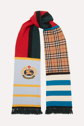 Burberry Patchwork Cashmere-blend Scarf - Blue