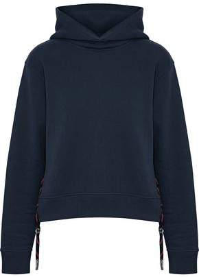 Acne Studios Lace-Up Cotton-Fleece Hooded Sweatshirt