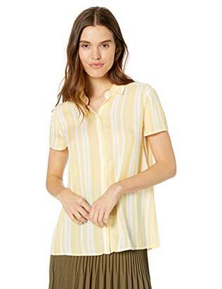 Max Studio Women's Rayon Stripe hi-lo Short Sleeve top, Yellow/White