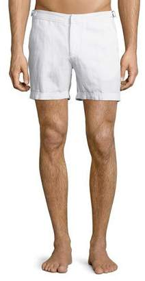 Orlebar Brown Cavrin Solid Linen Shorts, White $215 thestylecure.com