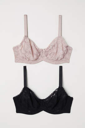 H&M 2-pack Underwire Bras E/F Cup - Pink