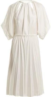 Maison Margiela Pleated cut-out satin dress