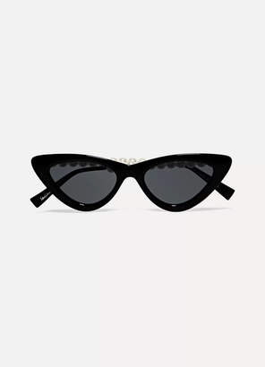 Le Specs The Last Lolita Faux Pearl-embellished Cat-eye Acetate Sunglasses - Black