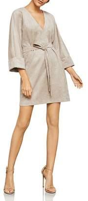 BCBGMAXAZRIA Belted Faux Suede Dress