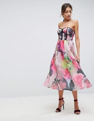 Asos DESIGN Bonded Mesh Bandeau Floral Midi Prom Dress