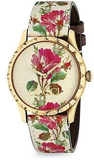 Gucci Women's G-Timeless Floral Leather Strap Watch