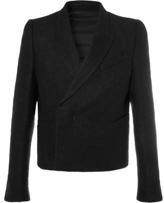 Rick Owens Black Slim-Fit Double-Breasted Camel Hair And Linen-Blend Blazer