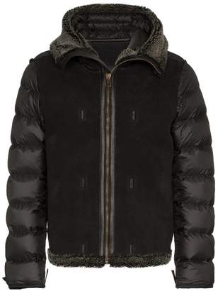 Ten C Hood Liner Hooded Feather Down, Suede and Lamb Fur Jacket