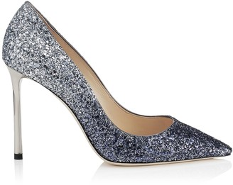 Jimmy Choo ROMY 100 Navy and Silver Coarse Glitter Degrade Pointy Toe Pumps