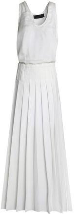 Silk And Pleated Poplin Maxi Dress