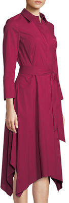 Lafayette 148 New York Moxie 3/4-Sleeve Handkerchief-Hem Dress