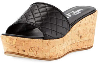 Sesto Meucci Tarie Quilted Napa Wedge Slide Sandal