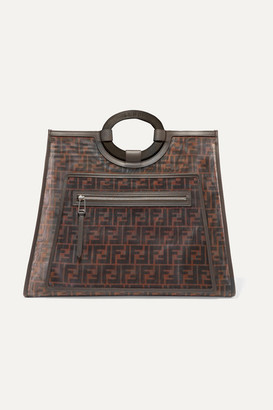 Fendi Runaway Large Leather-trimmed Printed Mesh Tote - Dark brown