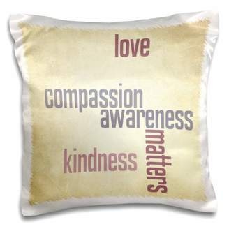 3dRose Vintage Paper Love and Kindness Matters- Inspirational Quotes - Pillow Case, 16 by 16-inch