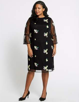 Marks and Spencer CURVE Embroidered 3/4 Sleeve Mesh Dress