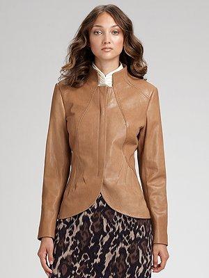 Elie Tahari Etta Tumbled Leather Jacket