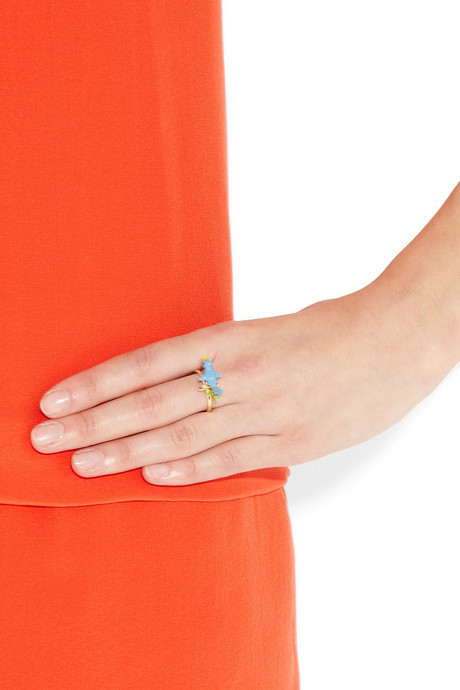 Solange Azagury-Partridge Blue Bird 18-karat gold enamel ring