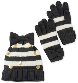 Kate Spade Girls' Striped Bow Hat And Gloves Boxed Set