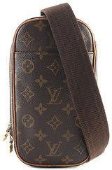 Louis VuittonLouis Vuitton Brown Coated Canvas Monogram Pochette Gange Handbag BY3785 MHL