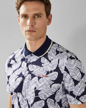 b184ce1fc970d5 Ted Baker PEACAN Large feather print cotton golf polo shirt