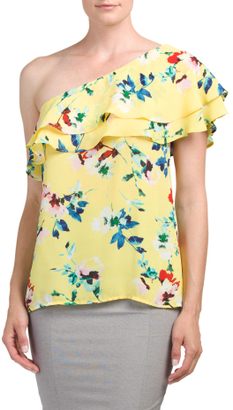 One Shoulder Ruffled Floral Top $16.99 thestylecure.com