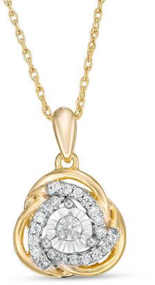 Zales 1/5 CT. T.W. Diamond Love Knot Pendant in 10K Gold