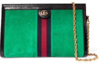 Gucci Ophidia Patent Leather-trimmed Suede Shoulder Bag - Green