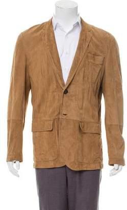 Brunello Cucinelli Leather Button-Up Blazer
