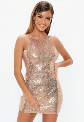 Missguided Petite Rose Gold Sequin Square Neck Bodycon Dress