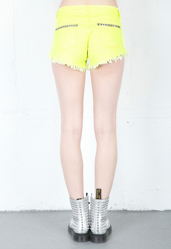 Reverse Neon Studded Cut Off Shorts in Neon Yellow