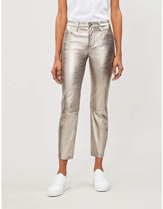 Frame High-rise metallic leather straight-leg trousers