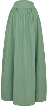 Anna Mason - Tati Gathered Swiss-dot Cotton Maxi Skirt - Green