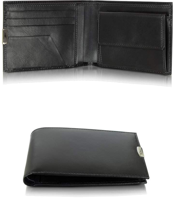 Pineider 1949 Black Leather Men's Wallet W/Coin Pocket