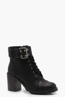 boohoo Block Heel Hiker Boots