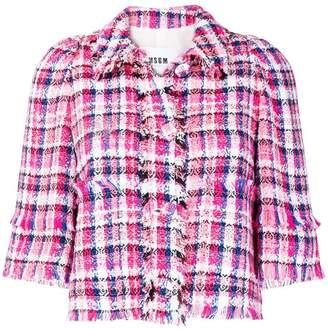 MSGM fringe-trim check tweed jacket