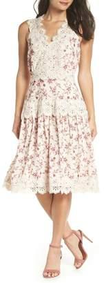 Adelyn Rae Payton Lace Trim Floral A-Line Dress