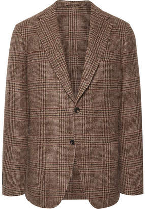 Drakes Drake's Light-Brown Slim-Fit Prince Of Wales Checked Wool-Tweed Blazer