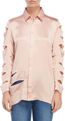Each X Other Ruffle Accent Cutout Silk Shirt