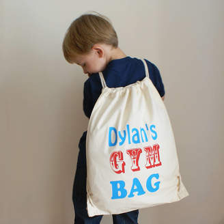Sparks And Daughters Personalised Children's Cotton Gym And Activities Bag